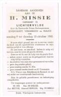 Lichtervelde: Dankbaar Aandenken Aan De H.MIssie ... , 1960 (2 Scans) - Oude Documenten