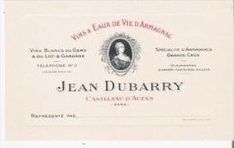 ARMAGNAC ET EAUX DE VIES D'ARMAGNANC  JEAN DUBARRY CASTELNAU D'AUZAN (GERS) CARTE DE VISITE ANCIENNE - Visiting Cards