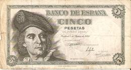 BILLETE DE ESPAÑA DE 5 PTAS DEL 1948 SERIE L CALIDAD BC (BANKNOTE) - [ 3] 1936-1975 : Régimen De Franco