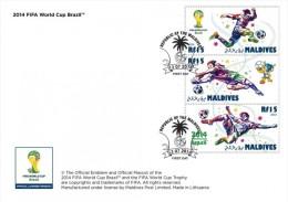 mld14501aF Maldives 2014 Football Soccer s/s FDC Flag