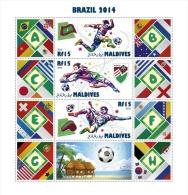 mld14501b Maldives 2014 Football Soccer s/s FDC Flag