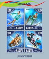 mld14509a Maldives 2014 Winter Olympic Sochi s/s Skiing Hockey Ski Juping Luge