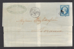FRANCE N° 22 Obl. S/lettrel GC 598 Branne (indice 5) - 1862 Napoleon III