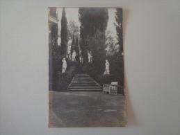 CPA PHOTO GRECE VUE PRISE DANS PARC ACHILLON CORFOU 1917 STATUES - Greece