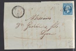 FRANCE N° 22 Obl. S/lettrel GC 1512 Flaviac (indice 5) - 1862 Napoleon III