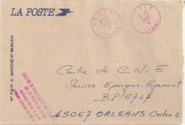 2883 C E T I P LYON 3 12 1990 Etoile En Bas Ob Rouge Griffe Centre De Traitement Informatique De La Poste - Postmark Collection (Covers)