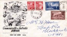 AUSTRALIEN 1951 - FIRST DAY COVER (FDC) Auf Schmuckbrief 4 Fach Frankiert Stempel Blackheath N.S.W. - Ersttagsbelege (FDC)