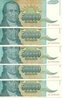 YOUGOSLAVIE  500000 DINARA 1993 VF+ P 131 ( 5 Billets ) - Yougoslavie