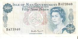 BILLETE DE LA ISLA DE MAN DE 50 NEW PENCE DEL AÑO 1972  (BANK NOTE) - [ 4] Isle Of Man / Channel Island