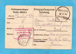 MARCOPHILIE--KRIEGSGEFANGENEN Feldpostkarte De Prisonnier-camp WAHN-cad Mars   1916 - Marcophilie (Lettres)