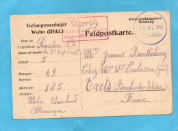 MARCOPHILIE--KRIEGSGEFANGENEN Feldpostkarte De Prisonnier-camp WAHN-cad Jul  1915 - Marcophilie (Lettres)