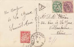 France 1933-5 + 10 C Et Taxe De 30 Centimes Sur Ak Environs De La Grave, Cachet De La Tombe, T-timbres Triangulaires