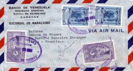 VENEZUELA 1950 - 4 Fach Sondermarken Frankierung Auf LP-Brief Von Sucursal De Maracaibo > Paris - Venezuela