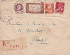 ALGERIEN 1946? - 4 Fach Frankierung Auf R-Brief Von Constantine > Rep.Bougie ? - Briefe U. Dokumente