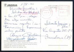 España. IBERIA. Circulada Madrid A Barcelona. Rodillo Iberia Barajas-Madrid, 9 Abril 1970. - Aéreo
