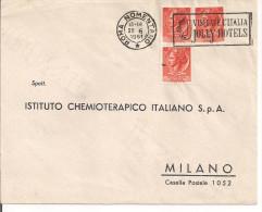 JOLLY HOTELS, TIMBRO POSTE ROMA  NOMENTANO 'VISITATE L'ITALIA JOLLY HOTELS' SU BUSTA VIAGGIATA  1961,ROMA / MILANO, NOTA - Holidays & Tourism