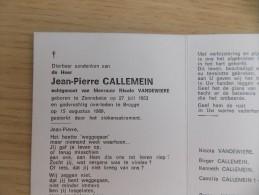 Doodsprentje Jean Pierre Callemein Zonnebeke 27/7/1953 Brugge 15/8/1989 ( Nicole Vandewiere ) - Religión & Esoterismo