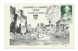 61/ ORNE... FLERS De L'ORNE. La Grande Rue Après La Libération .. Journée Du Timbre 1949 - Flers