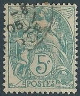 1900 FRANCIA USATO ALLEGORIA BLANC 5 CENT - EDF207-3 - 1900-29 Blanc