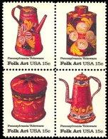 1979 USA American Folk Art - Pennsylvania Toleware Stamps Sc#1775-78 #1778a Coffee Pot Tea Sugar Bowl - Drinks