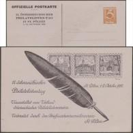 Autriche 1932. Entier Postal TSC, Philatelisten-tag St Pölten 1932. Plume, église Des Franciscains, Timbre Sur Timbre - Oies