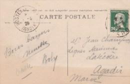 PASTEUR 20C SUR CPA NIMES 1926 POUR LIGNES AERIENNES LATECOERE AGADIR MAROC - 1921-1960: Periodo Moderno