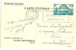 LINT4 - EP CARTE POSTALE VILLERS BRETONNEUX  55c 22/7/1938 PETITS DEFAUTS - Entiers Postaux