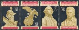 USA 1989-90 Constitution Bicentennial Stamps #2412-15 Clock History Eagle Shield George Washington John Marshall Famous - Clocks