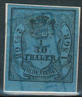 Oldenburg, Kl. Briefstück MiNr.2IIIo , Vollrandig Mit Unterrand, Pracht - Oldenburg