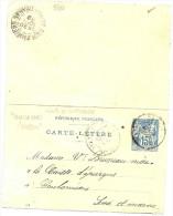LINT4 - EP CARTE LETTRE SAGE 15c DATE 845 CALAIS PARIS SPECIAL  AOÛT 1899 - Entiers Postaux
