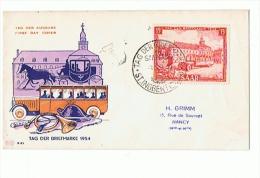 1er JOUR  TAG DER BRIFMARKE 1954 Pour  NANCY (M Et Mo ) - Duitsland