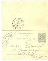 LINT4 - EP CARTE LETTRE SEMEUSE LIGNEE 15c DATE 528 LE RAINCY / LA ROCHELLE DECEMBRE 1905 - Cartes-lettres