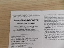 Doodsprentje Jeanne Marie Decorte  Wervikk 9/11/1903 - 25/10/1989 ( Cyrille Debacker ) - Religione & Esoterismo