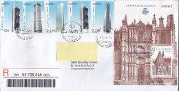 Spain Registered Certificado SAN SEBASTIAN 2014 Cover Letra Denmark 5x Differente Arquitectura & Block Miniature Sheet - 1931-Heute: 2. Rep. - ... Juan Carlos I