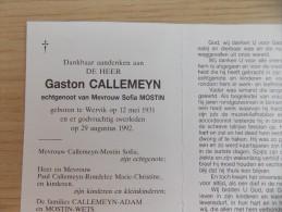 Doodsprentje Gaston Callemeyn Wervik 12/5/1931 - 29/8/1992 ( Sofia Mostin ) - Religione & Esoterismo