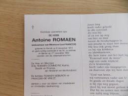 Doodsprentje Antoine Romaen Wervik 9/12/1912 Menen 27/11/1992 ( Lea Francois ) - Religione & Esoterismo