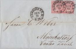NDP Brief Mef Minr.2x 16 Hamburg 22.8.70 Gel. In Schweiz - Norddeutscher Postbezirk