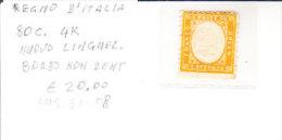 REGNO D´ITALIA - Varietà, 80 Cent. 4k. Nuovo, Lato Inf. Non Dentellato - LUG.31-08 - Non Classificati