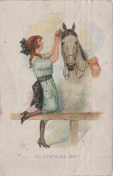 Künstlerkarte AK Ich Schmücke Dich Pferd Chevaux Catharina Klein ? - 1900-1949