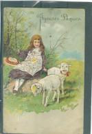Relief - Gaufrée - Embossed - Prage - Moutons - BE Tâchée Au Dos - Précurseur - Ostern