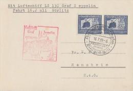 DR Zeppelinkarte LZ 130 Fahrt 16.7.Görlitz Mef Minr.2x 669 Ansehen !!!!!!!!!!!! - Deutschland