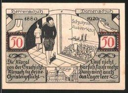 Billet De Nécessité Weissenfels An Der Saale 1921, 50 Pfennig, Stadtwappen, Dame Begutachtet Schuhe Im Schuhhandlung - Lokale Ausgaben