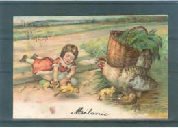 Relief - Gaufrée - Embossed - Prage - Coq Ou Poule - Petite Tâche En Bas - Précurseur - Pâques