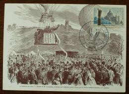 Carte Avec Cachet 90e ANNIVERSAIRE DE L'ENVOL DE GAMBETTA - 1960 - PARIS - 1921-1960: Modern Period