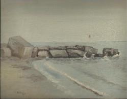 "SPAIN / CATALUNYA 1943 - OIL PAINTING ON HARD CARTON ""SAND, CEMENT BLOCKS, ROCKS AND WAVES "" - SIGNED ""FORTUNY 43"" DIM 2 - Oleo"