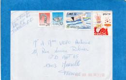 MARCOPHILIE-lettre IRLANDE Affranchissement 4 Timbres -dont Spoprt Natartion -swimming-N°830+818 - Altri