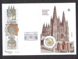 4.- ESPAÑA SPAIN 2012 FDC FIRST DAY COVER MINIATURE SHEET CATHEDRAL OF BURGOS. CATEDRAL - FDC