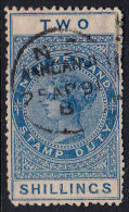 B0371 NEW ZEALAND, 1891 SG F46 2sh Postal Fiscal Used - 1855-1907 Crown Colony