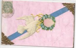 OISEAU-VOGEL-BIRD- Jolie  Cpa Fantaisie Decoupie Oiseau Tenant Une Gerbe Dans Son Bec - Vögel