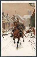 A/S UNGEWITTER Patrouille Soldier W Horse Patrols Village After Battle UHLAN - Regimente
